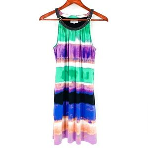 Calvin Klein Printed Watercolor Striped Dress